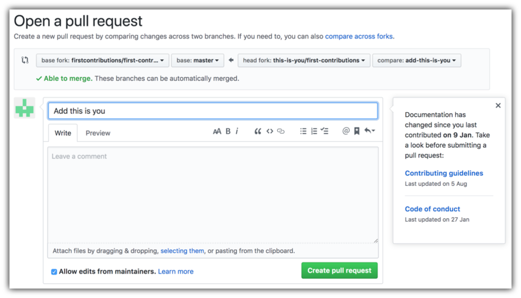 submit pull request